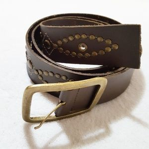 Brown Brazilian Leather Belt with Brass Studs XL